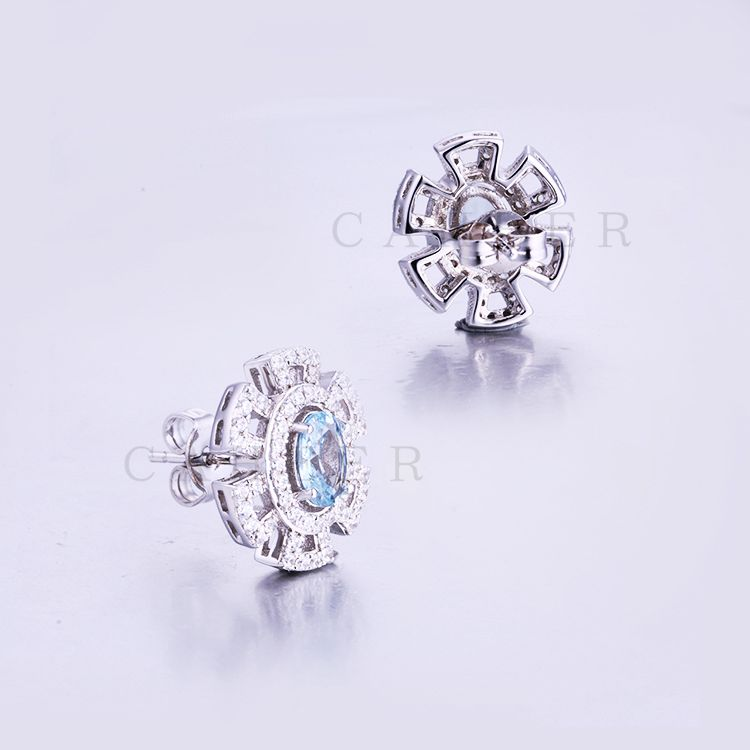 Silver Plated White CZ Micro Paved Fashion CZ Gemstone Stud Earring CA0012E