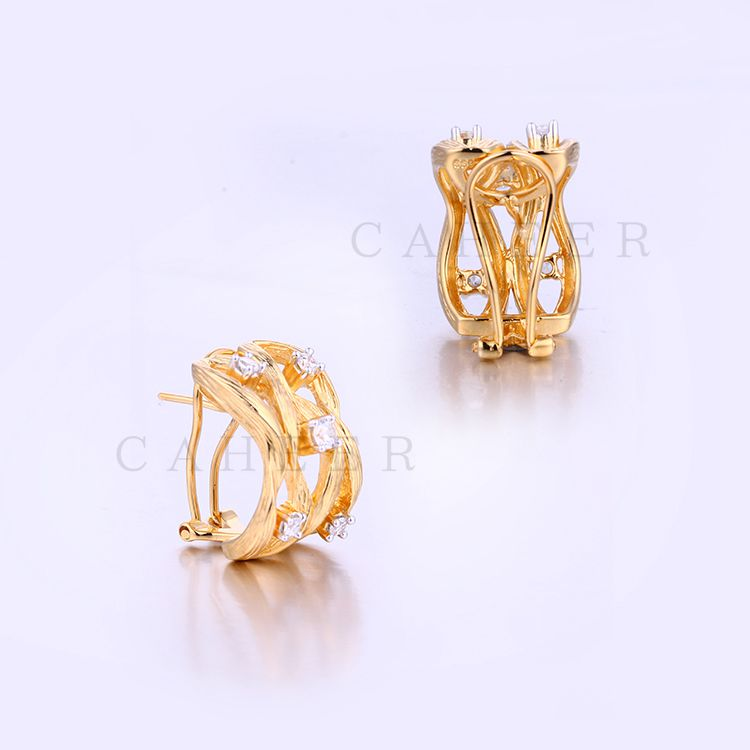 OEM Service Gold Zircon Cheap Fashion Silver Earring Asian Style K0001E