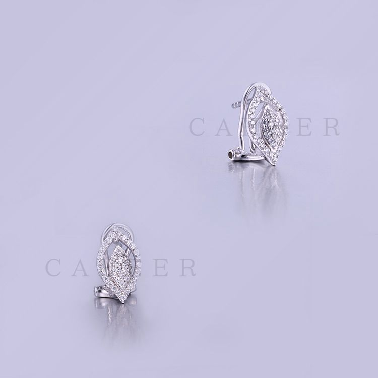 2017 Fashion Silver Earring Silver Jewelry Leaf Shape Studs K0003E