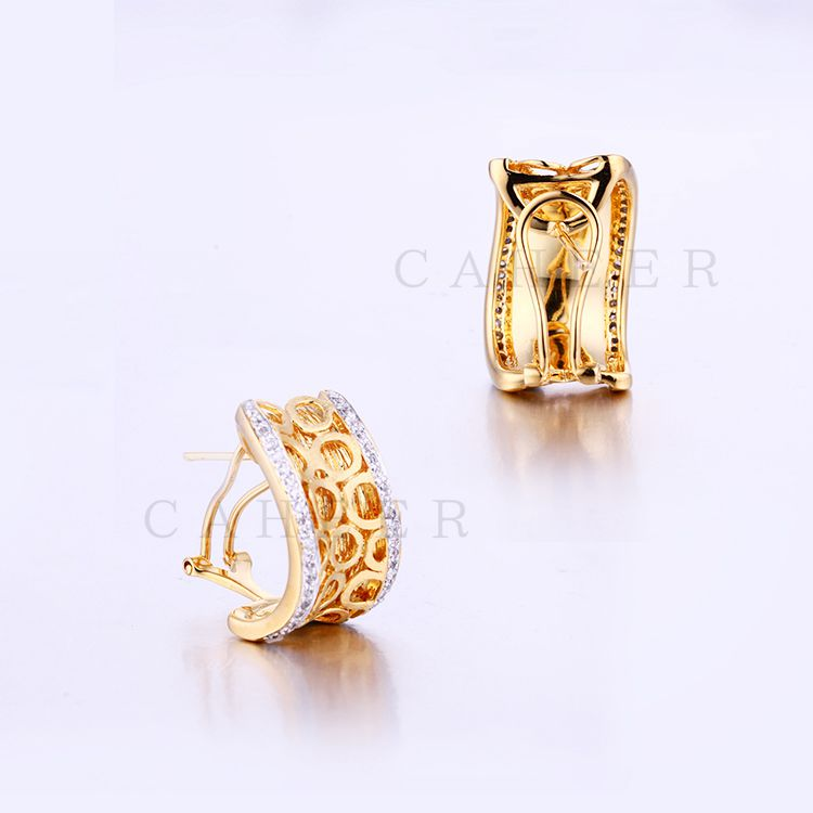 High Quality Elegant Women Stud Earrings Golden Studs K0008E