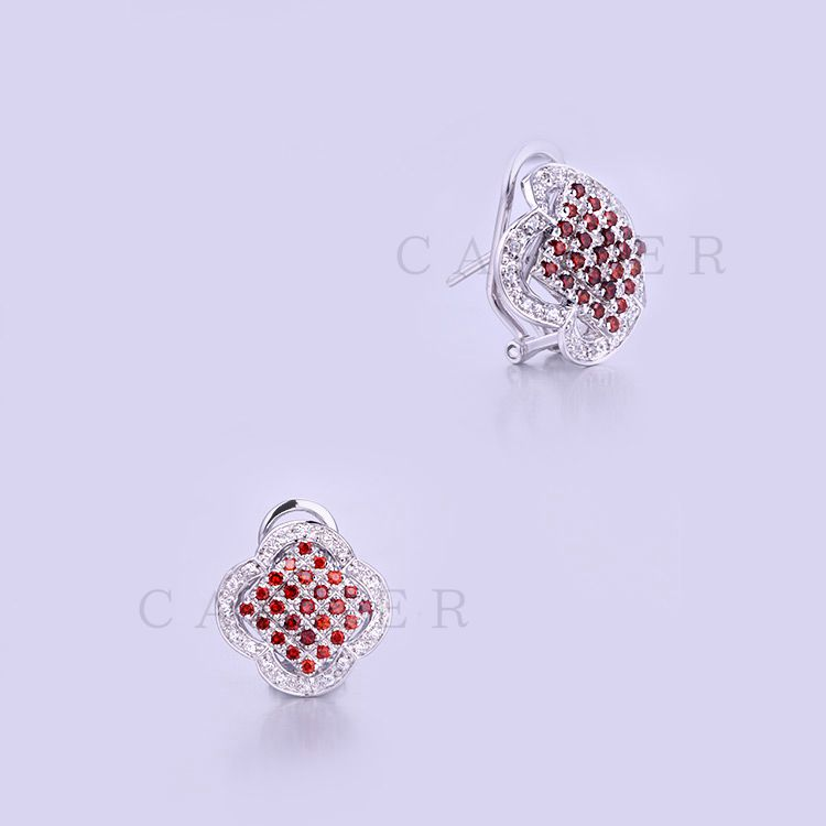 Earrings for Women Rhodium Plated Jewelry Garnet CZ Studs K0015E