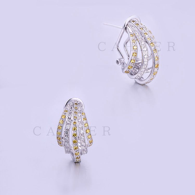 Earrings Women Wholesale Earring Fashion Jewelry Yellow CZ Earrings K0016E