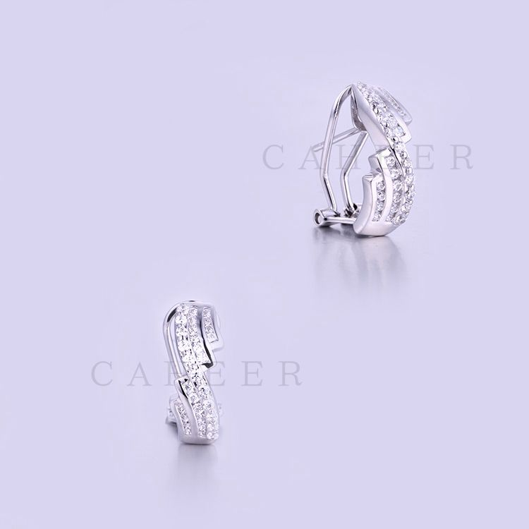 925 Sterling Silver Cubic Zirconia Earings White CZ Studs K0019E