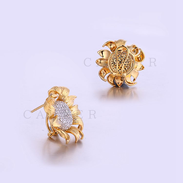 Cubic Zirconia Diamond Sunflower Studs Golden Stud Earring K0020E