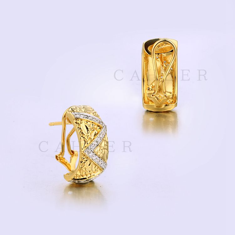 Italian Style Gold Earrings Shiny Stone Earrings K0030E