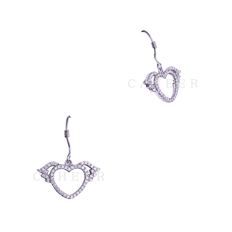 Wholesale Factory 2017 Fashion Earrings Flying Heart Silver Earrings K0031E