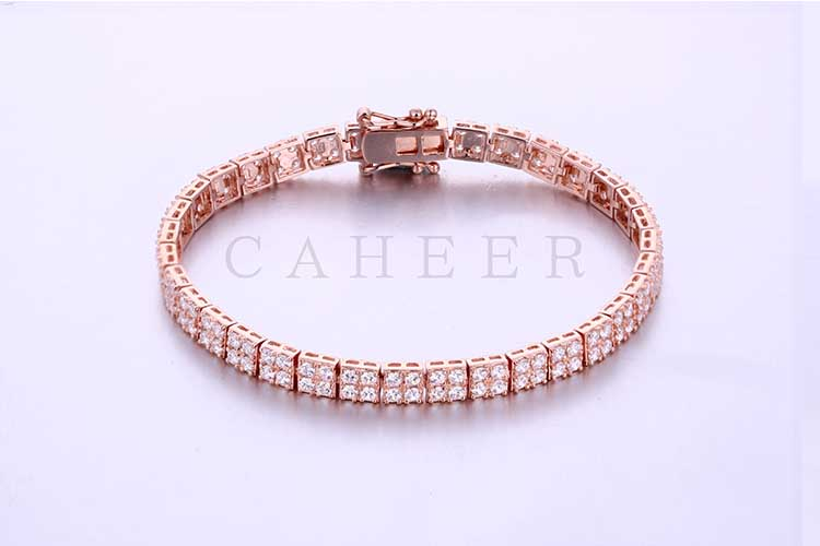 Women CZ Diamond Charm Hand Chain Plating Rose Gold Bracelet CA0006HB