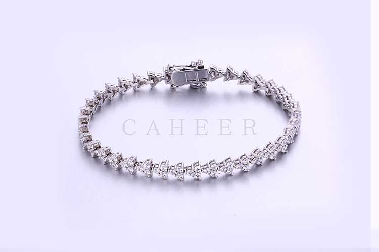 Wedding Bracelet Triangle Leaf Shaped Silver Bracelet CA0005HB