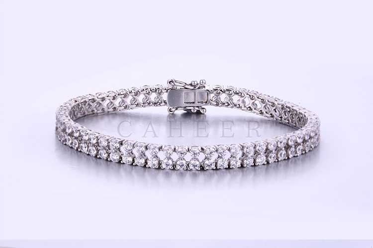 Silver Charm Bracelet For Women Jewelry Girls White CZ Luxury Bracelet CA0004HB