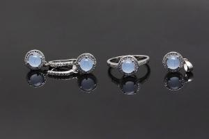 Light Blue Sterling Silver Jewellery Set K0006S
