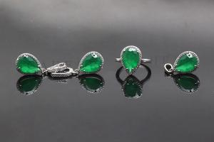 Elegant Emerald Jewelry Set K0007S
