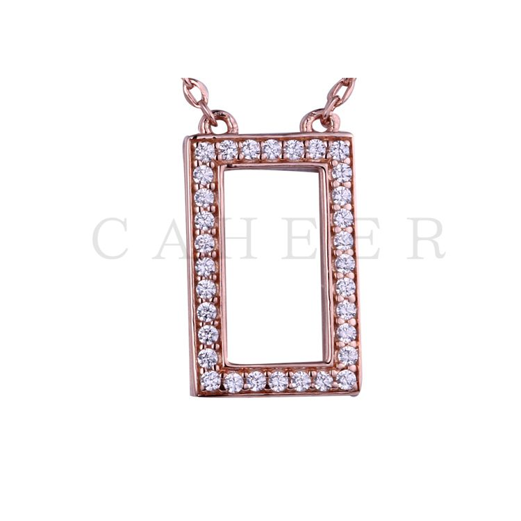 Simple  Rectangle Zircon Pendant K0036P