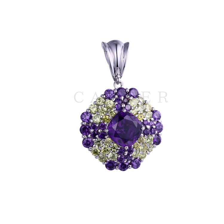 Luxurious Amethyst Yellow CZ Pendant K0072P