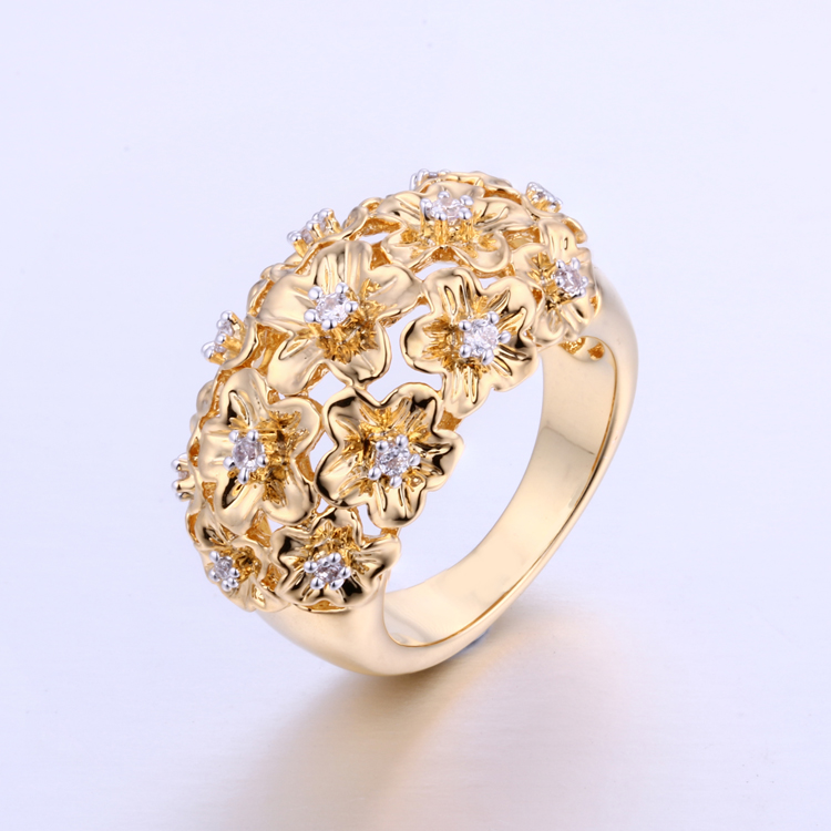 CR1607265 Cluster Gold Ring Design For Women CZ Rings With Factory Price