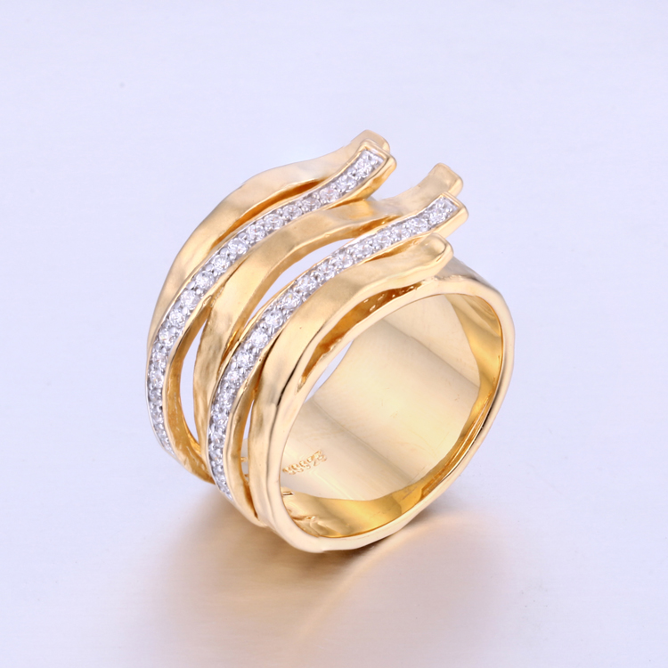 CR1607383 Wholesale Wedding Jewelry Simple Shape Gold Fashion Bride Set Ring
