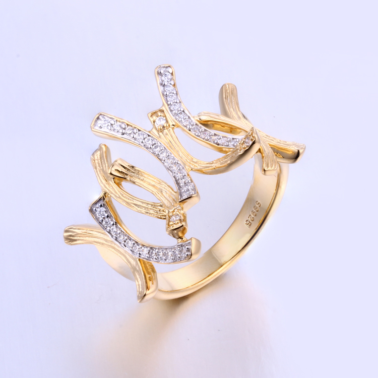 CR1607347 Newest Design Charming Russian Style 18k Gold Plated Gold Ring