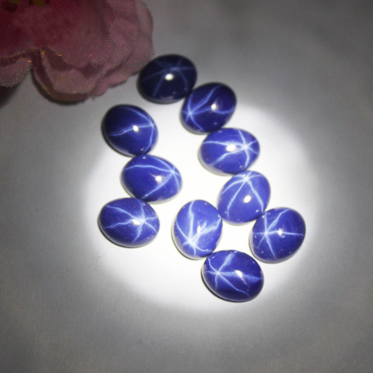 Oval Cut Flat Back Cabochon Synthetic Blue Star Sapphire