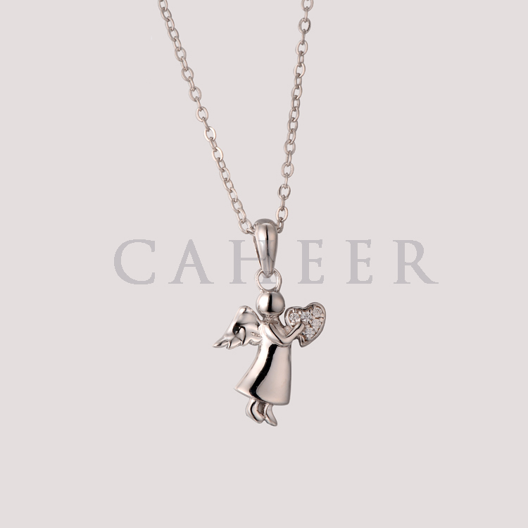 CP1507092 Lovely Angel Design Silver Cute Girls & Women Lucky Pendant Necklace