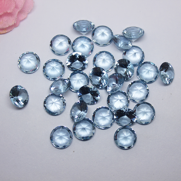 Wholesale Price Light Blue Gemstone Synthetic Round Shape 108# Spinel