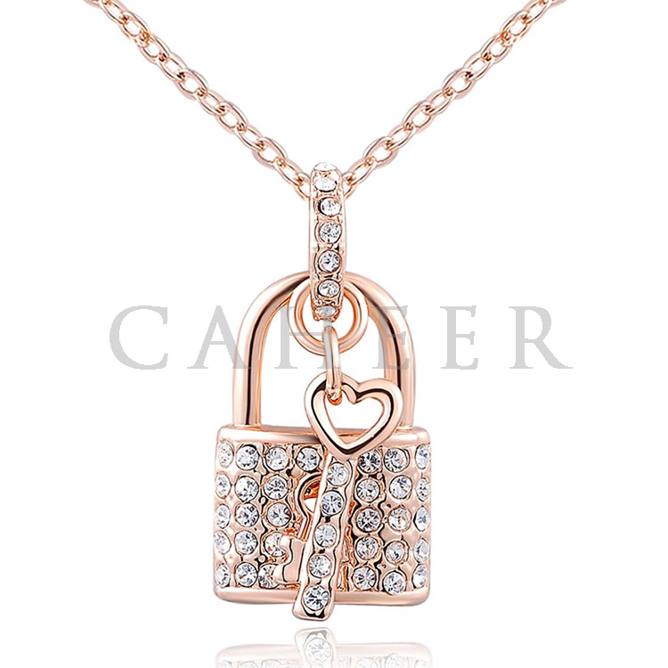 Lock Shape Rose Gold Plating Necklace Birthday Gift for Women